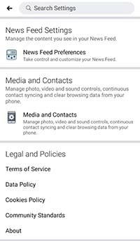 facebook media and contacts